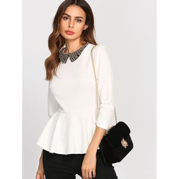 Beading Collar Peplum Blouse White