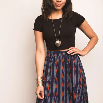 Gathered Ikat Skirt - Navy