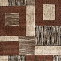 Iron Bridge Modern Abstract Area Rug, Brown and Ivory, Multi Square Pattern,7...
