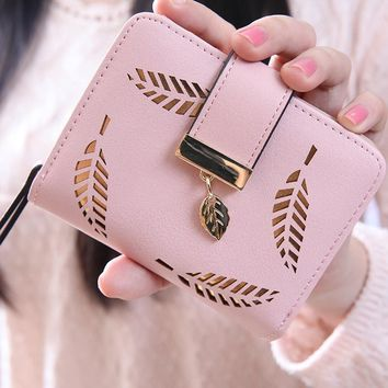 best sale wallet women Leaf Bifold PU Leather Clutch Card Holder coin Purse high quality wallets carteira feminina gift#0