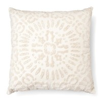 "Embellished Medallion Square Decorative Pillow (18""x18"") Cream - Threshold™"