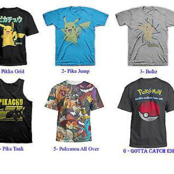 Pokemon Pikachu Adult Men T-Shirt LICENSED S-2XL