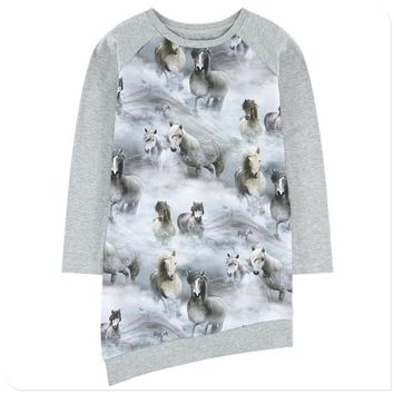 2018 Baby girl dress Long sleeve nice horses print Girls Clothes Girl clothing Casual new Fashion Children Kids dresses