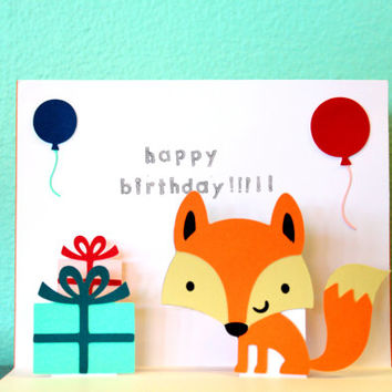Pop Up Card - Fox - Happy Birthday