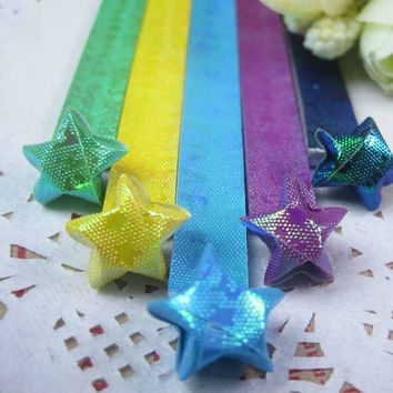 Folding Origami Paper / Lucky Star Assorted / Favour Strips Colors Mixed / Shiny Aurora Good Luck Love You 90 Stripes