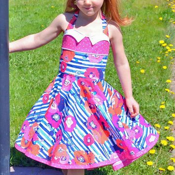 Girls Twirl Dress, Modern Vintage Style, Pink and Blue Dress, Party Dress, Girls Boutique Dress, Circle Skirt Dress, Summer Dress, Poppies