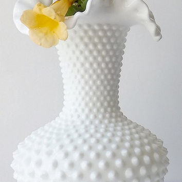 Large Fenton Hobnail White Milk Glass Vase, Ruffle Rim, Vintage Collectible Glassware