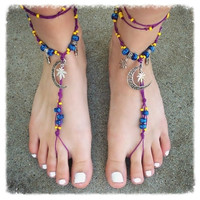 Handmade Twilight Hemp Leaf Barefoot Sandals