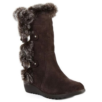 Faux Fur Design Mid-Calf Boots With Double Buckle