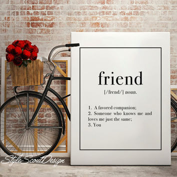 Friend Dictionary definition art, Typography art print, coffee print, Wall Art print, Typography Poster