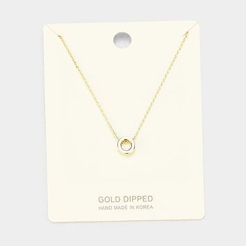 'O' Gold Dipped Metal Pendant Necklace