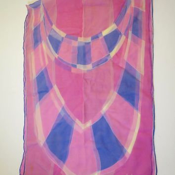 Vera Neumann Pink Blue Silk Chiffon Scarf Designer Signed 1960's Long 13.5 x 40 inch Scarf Pink Lavender White Stained Glass Window Print