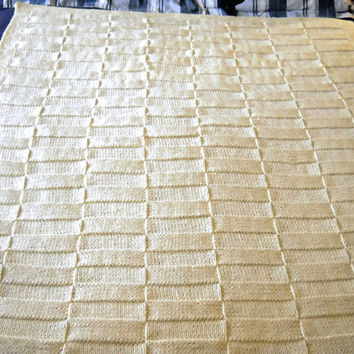 Cream Afghan Basketweave Hand Knit Throw - Home Decor Neutral Color Blanket - Large Bed Throw - Beautiful Home Decor Afgha