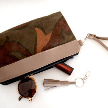 Recycled Army Canvas Small Makeup Bag with TAUPE Vegan Leather Accent, Waxed Cotton Zipper Pouch, Army Canvas Cosmetic Bag