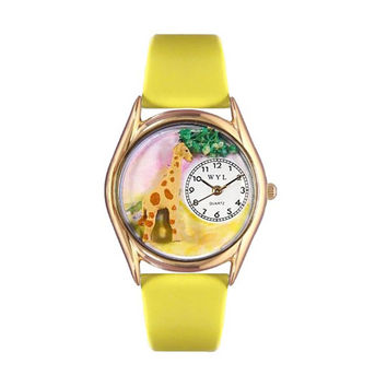 Whimsical Watches Healthcare Nurse Gift Accessories Giraffe Yellow Leather And Goldtone Watch