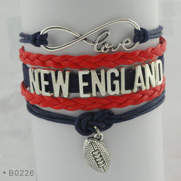 New England Football - Infinity Love Football Bracelet