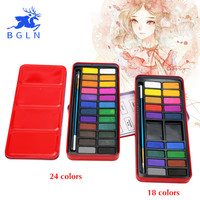 18/24 Colors Tin Metal Watercolor Paint Box With Bonus Paintbrush High Color Density Watercolor Paints For Artist School Student