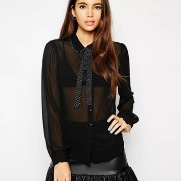 Black Bow-Tie Long-Sleeve Button Collared Chiffon Blouse