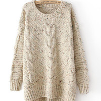 Cable Knitted Asymmetrical Sweater