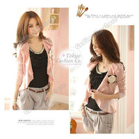 New Womens Long Sleeve Cotton Solid Color Autumn Cardigan Short Jacket Coat #706