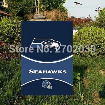 "Seattle seahawks National Football Team Garden flag kintted polyester double sides 12""X18"" custom flag Home Deco Indoor Outdoor"