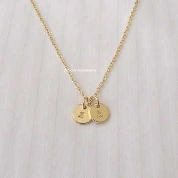 2 disc personalized initial necklace - dainty, simple, cute, personable, minimalist, chic, unique,