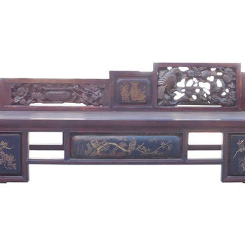 Chinese Vintage Fujian Scenery Carving Daybed Couch Chaise cs1471S