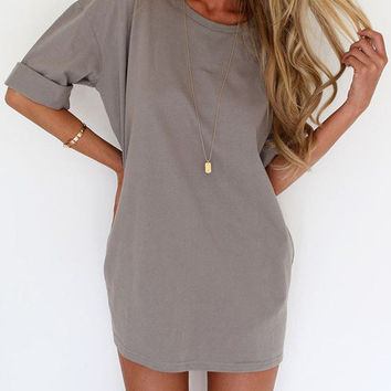 Grey Round Neck Half Sleeve Loose Dress