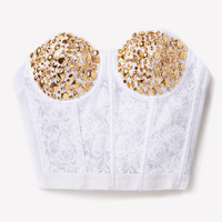 Gold White Studded Bustier