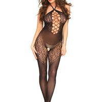 Leg Avenue Female Seamless Opaque Halter Bodystocking With Lace Accents And Net Center Panel 89188