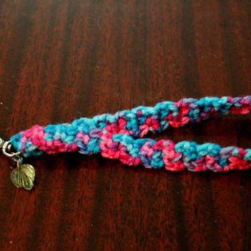 Crocheted Pink & Blue Keychain Wristlet with Charm on a Beaded Ring