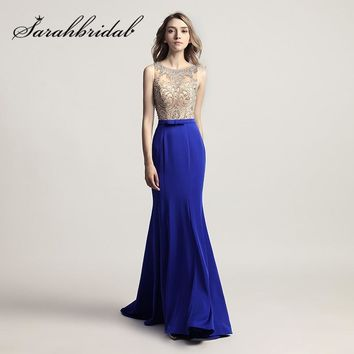 Royal Blue Mermaid Evening Dresses Sliver Crystals Beading Long Burgundy Prom Party Gowns with Bow Real Photos CC414