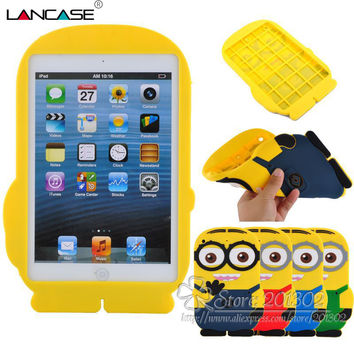 Despicable Me Soft Rubber Silicone Case Cover for iPad Mini 1 2 3 3D Minion Cute Cartoon Animals Design Protective Tablet Cover