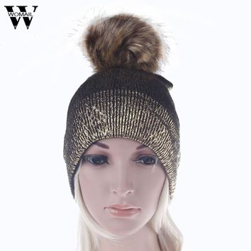 Fashion Women Baggy Warm Crochet Faux fur pom poms Winter Knitted Beanie Skull Slouchy Caps Hat