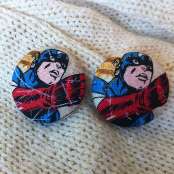 Captain America Fabric Button Earrings, Covered Button Earrings, Superhero Earrings, Cosplay, Comic Con Earrings