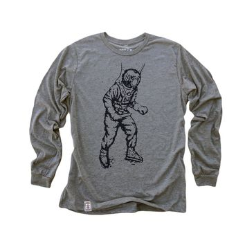 Vintage Deep Sea Diver.: Fine Jersey Long Sleeve T-Shirt in Heather Grey