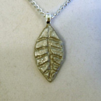 Silver Leaf Necklace, clay, pendant, fall, designed etched, thin, automn, one of a kind, ooak, unique, sleek, very, nice, alluminum chain