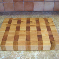 Solid Hardwood, Ash, Maple, Red Oak 'End Grain' Cutting Board, Large Heavy Duty Butcher Block, All Natural Finish, Kitchen Chef Gift