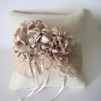 Ring Bearer Pillow Ivory Burlap and Dark Champaign Lace with Shades of Champaign Flowers and  Pearl and Rhinestone Accents