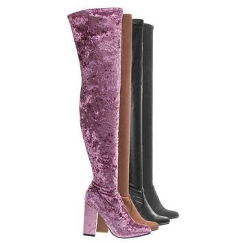 Namaste03 Stretchy Chunky Block Heel Thigh High OTK, Over-The-Knee Pointy Toe Boot