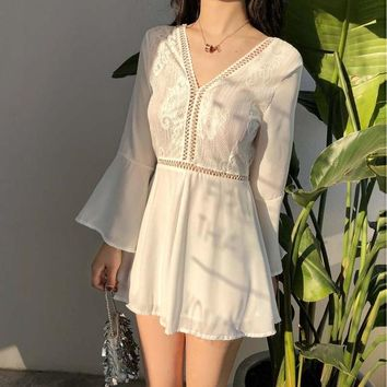Vintage V-neck flared Trumpet sleeves backless chiffon stitching hollow lace high waist was thin casual one-piece skirt