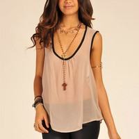 Mesh Sleeveless Tank with Cross Body Back