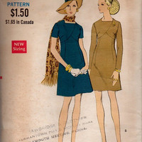 Vogue 60s Sewing Pattern Mod Retro A-line Dress Casual Day Dress Square Neck Detailed Bust 34 Mad Men Style