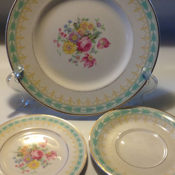 Syracuse Betsy Ross Old Ivory Turquoise Dinner Plate Bread Plate and Saucer Vintage 1940s
