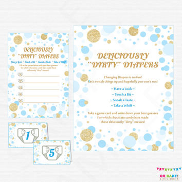 Guess the Mess - Blue Gold Baby Shower Game - Deliciously Dirty Diapers Game - Chocolate Candy Bar Mess Diaper Game Boy Confetti CB0003-bg