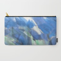 Meadow Flowers  In Soft Blue Carry-All Pouch by Jen Warmuth Art And Design