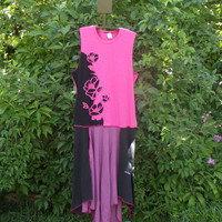 Recycled T shirt Dress Large Extra Pink Purple Black M C Escher  Flowers Fairy Cool Boho Bohemian Upcycled Clothing  Womans Asymmetrical