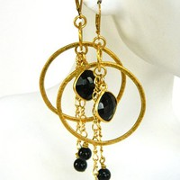 Gold Hoop Earrings Black Onyx Long Dangle Statement Handmade