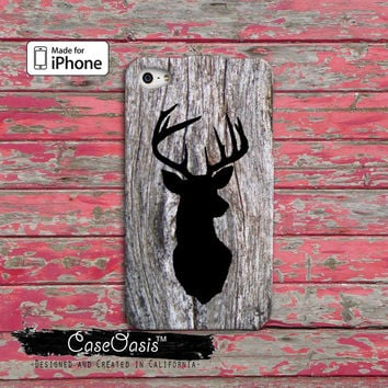 Deerhead wood grain camo Custom iPhone 4 and 4s Case and Custom iPhone 5 and 5s and 5c Case