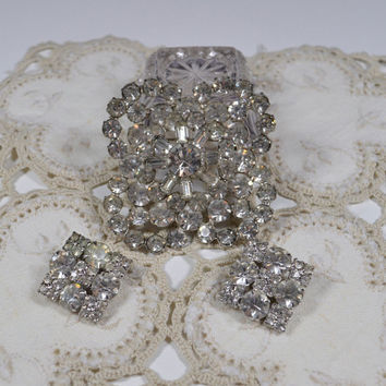 Vintage Large Rhinestone Statement Brooch Pin Clip Earrings Statement Jewelry Wedding Jewelry Special Occasion Rhinestone Jewelry